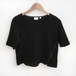 Anthropologie | Postmark Black Zippered Top